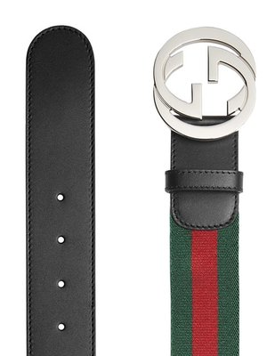 Gucci Web belt with G buckle green