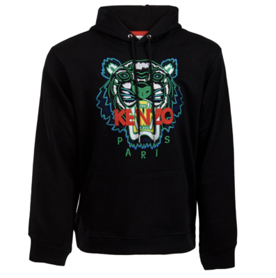 Kenzo tiger embroidered hoodie black