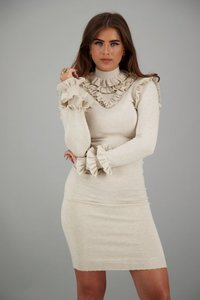 Reinders Marie Ruffle Dress Creme