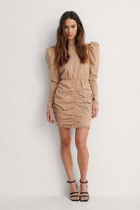 NA-KD - Open Back Mini Dress Beige