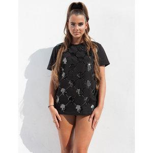 Reinders logo mania t-shirt sequins - zwart/zwart